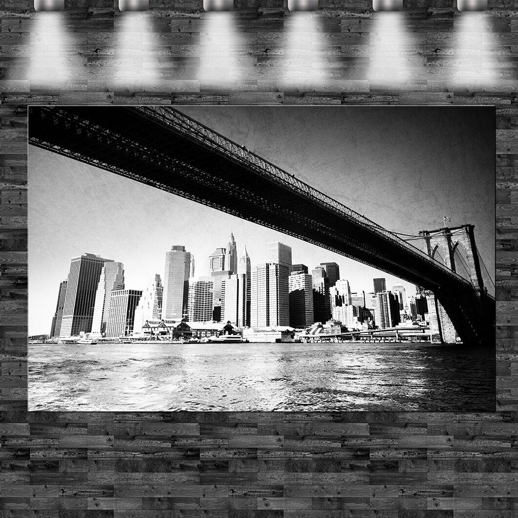 XXL Brooklyn Bridge Skyline Leinwand 110x70cm Loft Design Amerika
