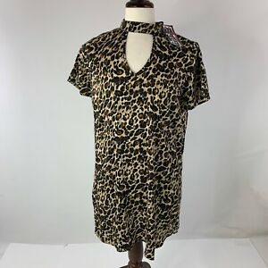 100% True Trixxi Girl Leopard Print Choker Neck Size Large Dress