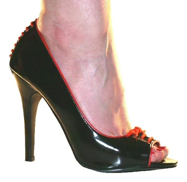 "Peep Black Patent Red Trim 4.75"" 12cm Stiletto Peep Shoes Sizes UK 4 to 8"