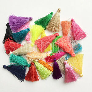 5-MINI-Silky-TASSELS-Craft-Jewellery-Making-Cothes-Keyring-Earring-Necklace