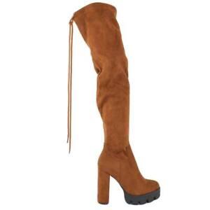 Dettagli su Stivali donna in camoscio cuoio alti sopra il ginocchio con lacco largo e platea