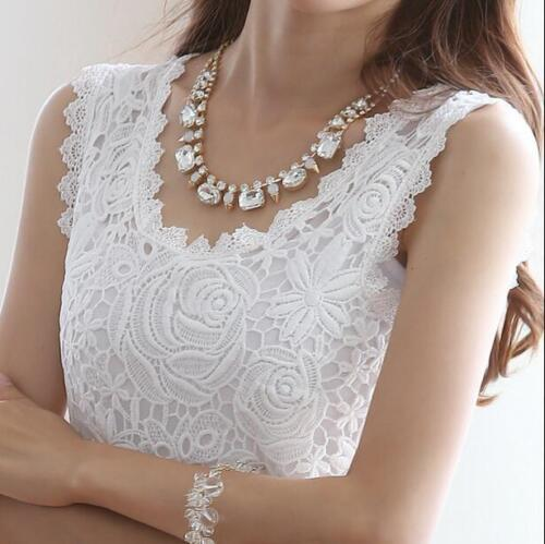 Sleeveless Vest Lace Tank Top T-shirt Camisole Blouse Tee Top Women Clothing ADE
