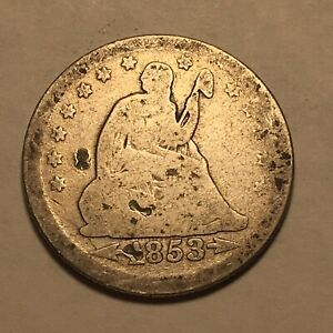 1853 Seated Liberty Silver Quarter Dollar Better Date Arrows And Rays