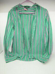 Women-039-s-RALPH-LAUREN-Button-Up-Long-Sleeve-Shirt-LARGE-Green-Purple-STRIPE-Print