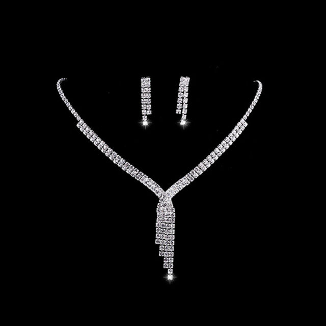61c50bc9c Rhinestone Necklace & Drop Earrings Wedding Bridal Bridesmaid Prom Jewelry  Set