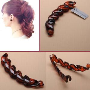 Banana-Hair-Clip-Claw-Comb-Riser-Twisted-Style-BROWN-Grip-Women-DIY-Interlocking