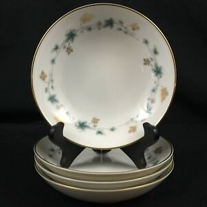 Set-of-4-VTG-Berry-Bowls-5-1-4-034-Noritake-Elmdale-Blue-amp-Gold-Leaves-6219-Japan