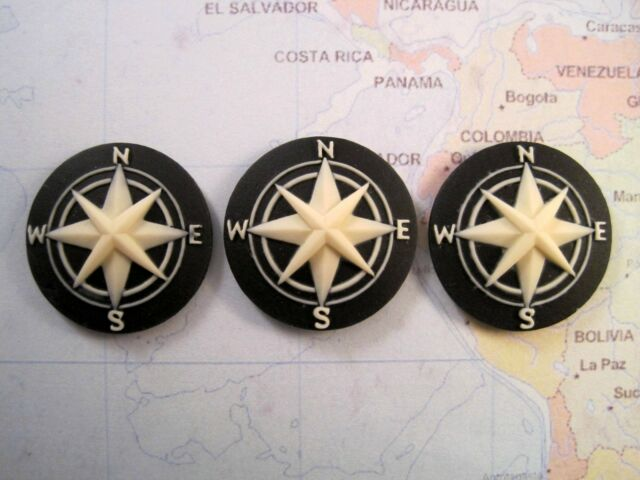 25mm Compass Cameos (3) - L855 Jewelry Finding