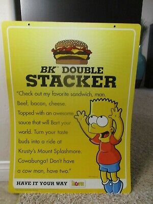 2007 The Simpsons Movie Burger King Bart Simpson Sign Store Display Advertising Ebay