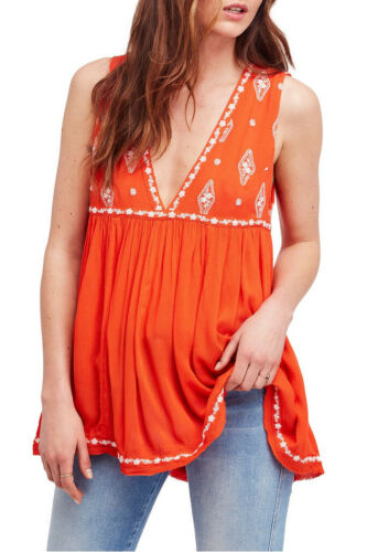 Top Free flamme combo Womens Ob815447 rouge sans manches People brodé Xs taille 0OOq6rI