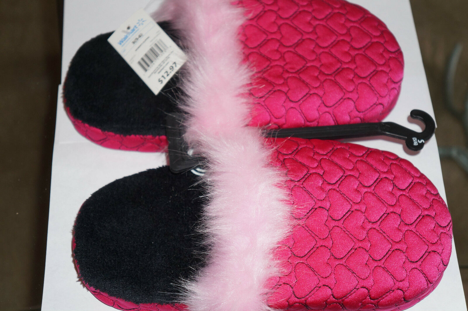 LIFE IS SWEET Women's Pink & Black Heart Quilted Clog Slippers Size S(5-6) NWT