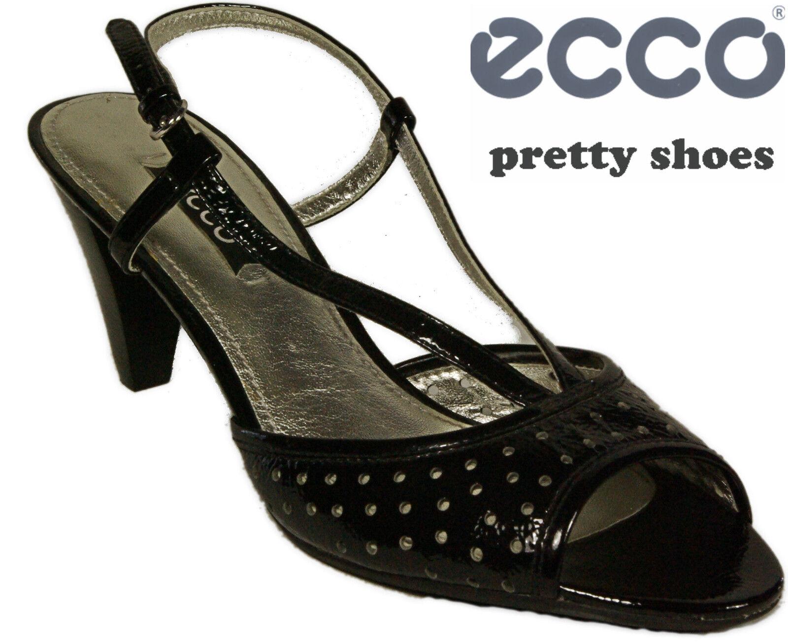 ECCO Schuhe elegante Sandaleetten Sling Pumps schwarz  Lack  Leder High Heel NEU