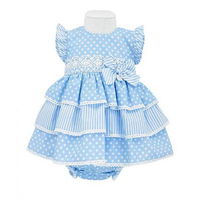 2018 BABY-GIRLS OFFICIAL SPANISH FRENCH BLUE SPOT STRIPE BOW DRESS /& KNICKER SET
