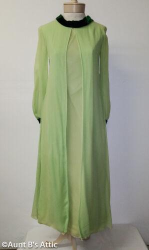Vintage 60's-70's Maxi Dress Celadon Green Georget