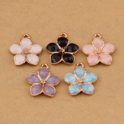 Gold Plated Enamel Five-petaled Flowers Jewelry Making Accessories Pendant P1187