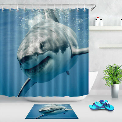 White shark/'s Smile Fabric Shower Curtain Set Polyester  Bathroom Curtains Liner