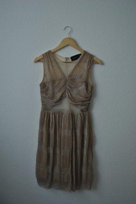 Damen   River Island   Abendkleid Partykleid Gold Metallic Transparent   Größe S