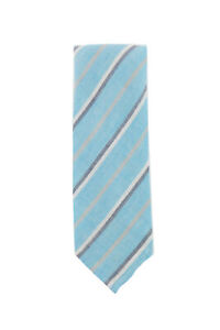 Finamore Napoli Light Blue Striped Silk Tie - x - (1354)