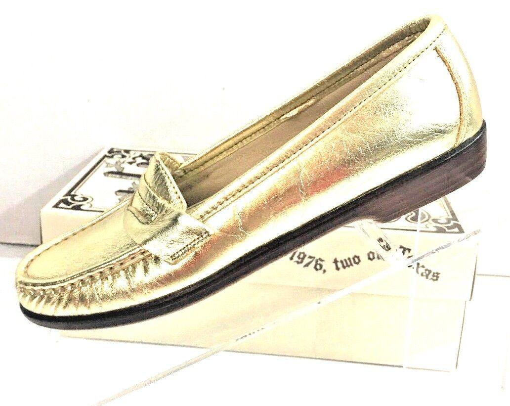 SAS para para para mujeres cuero oro metálico antideslizante en mocasines Penny Comodidad Zapatos Talla 7.5S  en linea