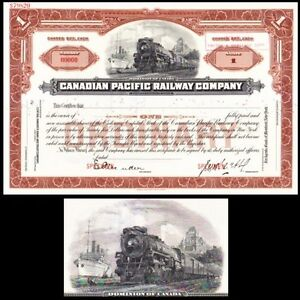 Canadian Pacific Railway Company Canada Stock Certificate ... Pacific Railway Company