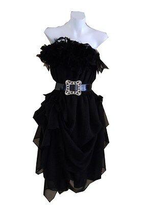 VINTAGE HARAH DESIGNS CHIFFON  feather drape 50'S DRESS KNEE LENGTH STRAPLESS