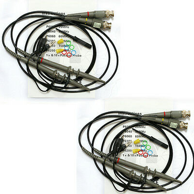 FREE US SHIPPING 1 Pair Oscilloscope Scope Clip Probes Kit P6020 20MHz 1X//10X