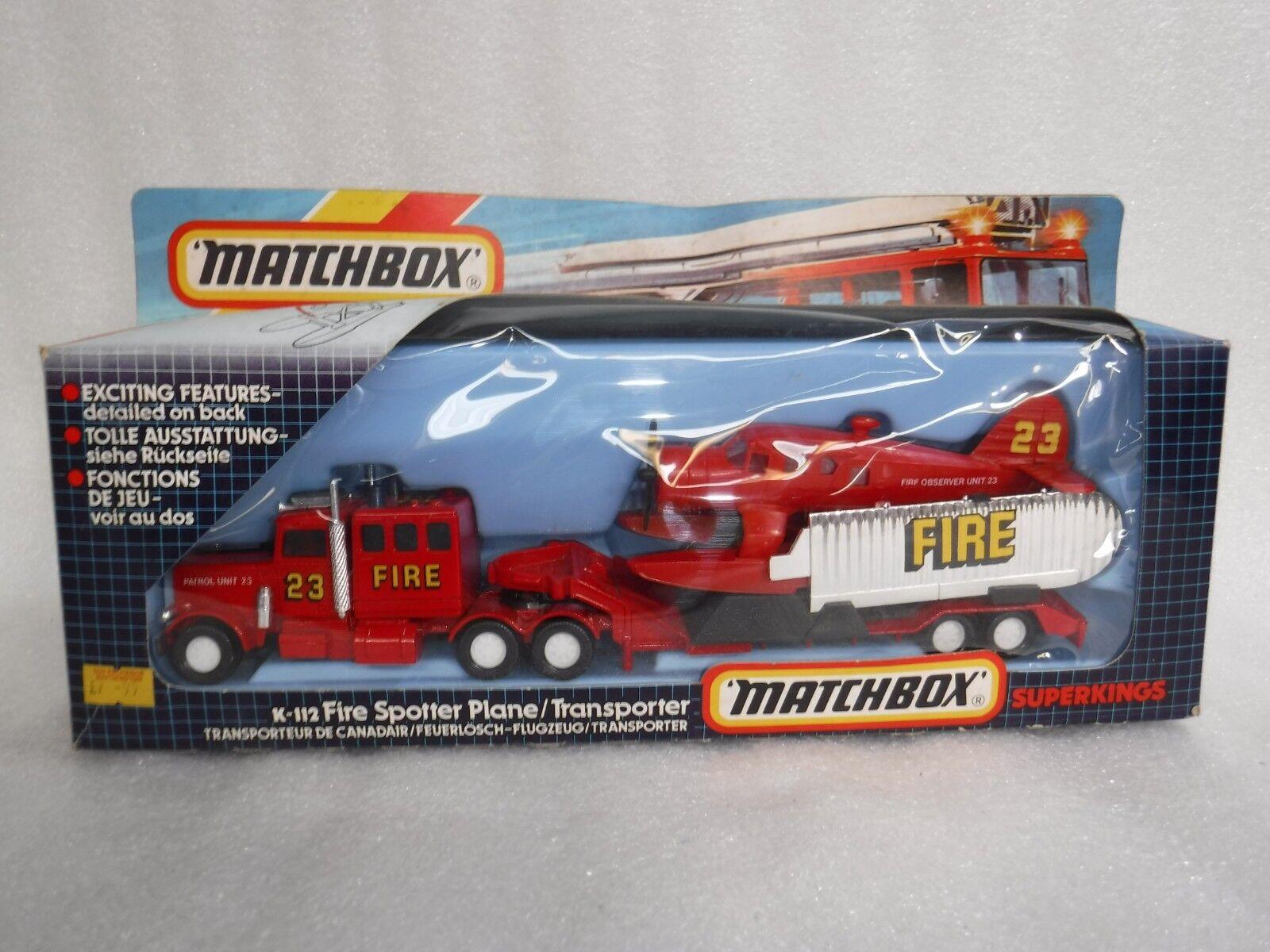 Vintage Matchbox Superkings K-112 , Fire Spotter Plane + Transporter K-134 ,Rare