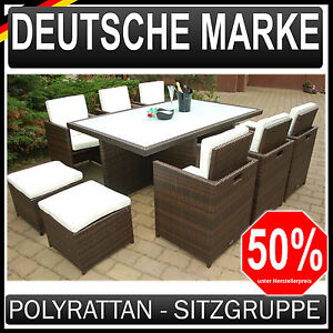 polyrattan gartenm bel 6 4 garten garnitur sitzgruppe braun ragnar k m beldesign ebay. Black Bedroom Furniture Sets. Home Design Ideas