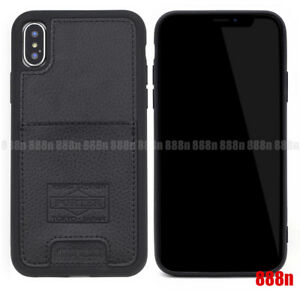 For-iPhone-XS-Max-Head-Porter-Black-Leather-Credit-Card-Slot-Pocket-Case-Cover