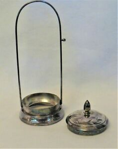 Decorative silver-plate pickle stand + cover; missing glass insert + tongs. VTG