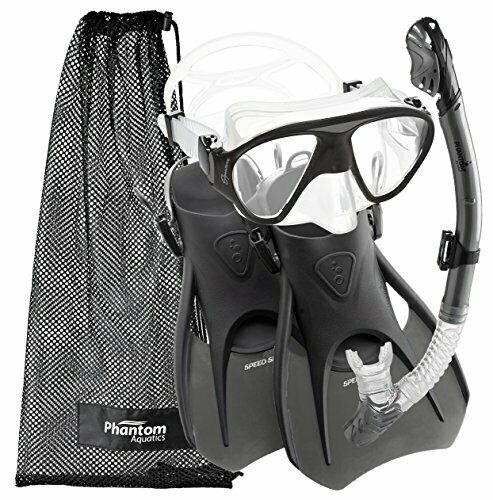 Travel Snorkel Kit for Adults w  Goggles   Open Heel Flippers & Mesh Bag (L)