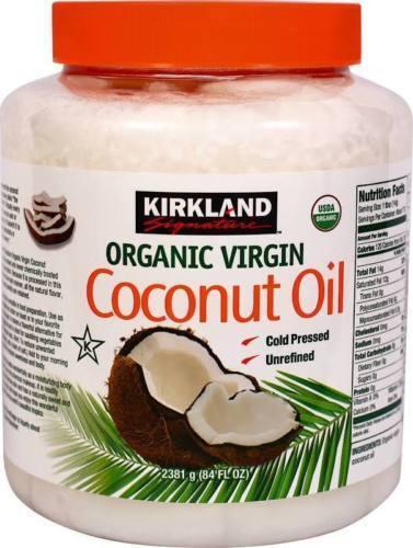 Kirkland Organic Coconut Oil Virgin Unrefined Cold Pressed Chemical Free 84 oz