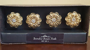 New Floral Gold And Clear Center Rhinestone Furniture Cabinet Drawer Pulls