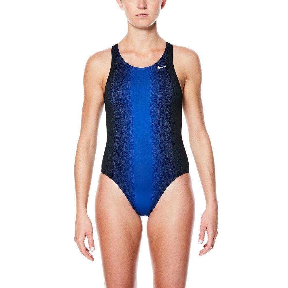 Nike -swimsuits-Donna Nuoto Performance Sfumato Sting Fastback uno Piece-blu