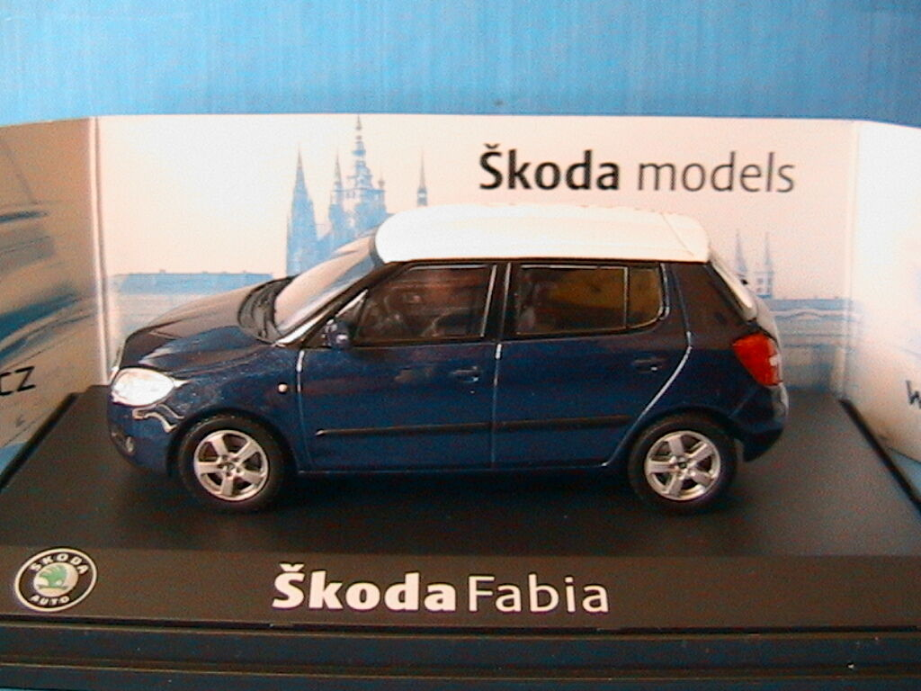 SKODA FABIA 2 II blueE METAL WHITE ROOF ABREX 008KCW 1 43 blue METALLISE