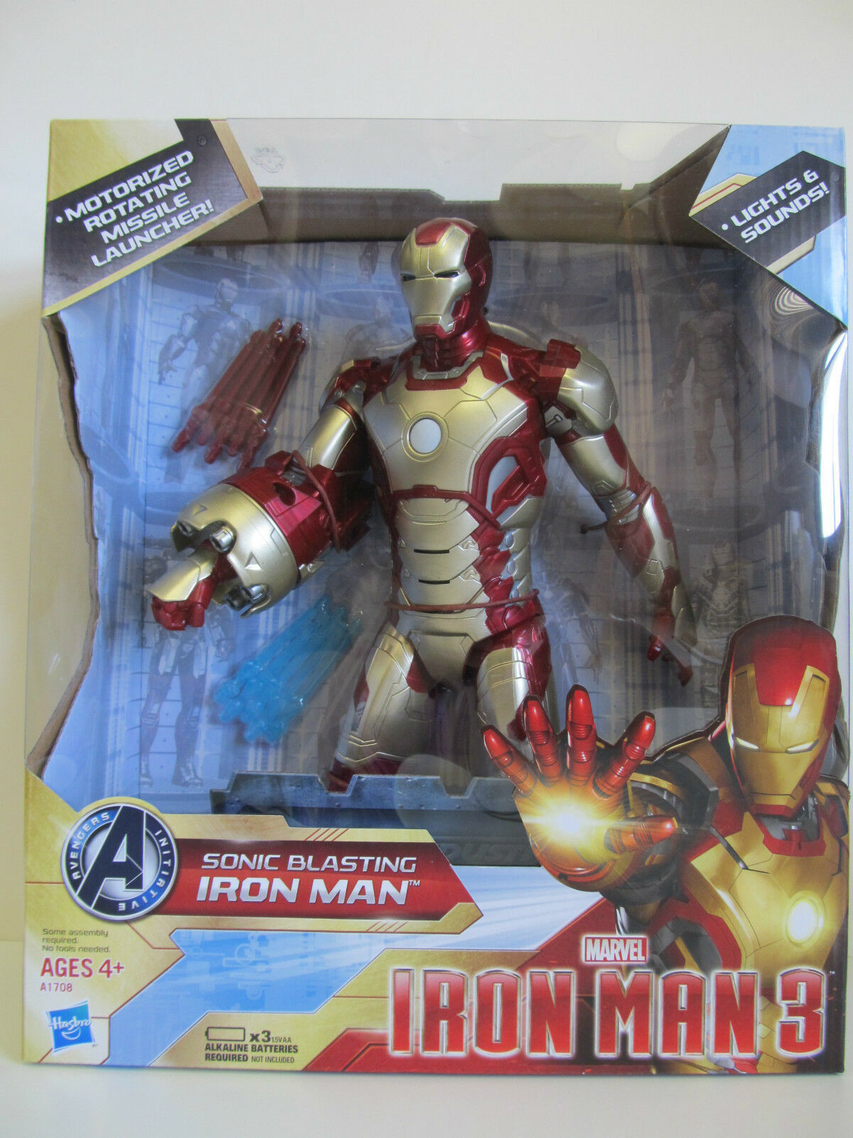 Marvel Sonic Blasting Iron Man 3 Action Figure w  Missile Launch Lights & Sound