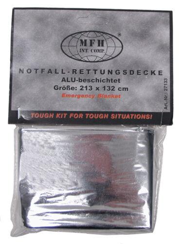 MFH Rettungsdecke Silber-Orange Notfalldecke Rettungsfolie 213x132cm