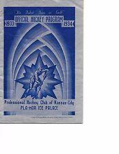 1933-34 Kansas City Greyhounds-Tulsa Indians AHA Program RARE!!