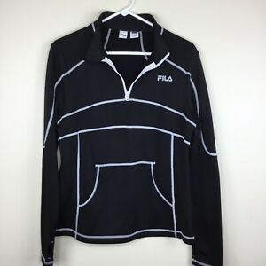 Details about Fila Sport Womens Pullover Top Size Large Athletic Black White 14 Zip Running