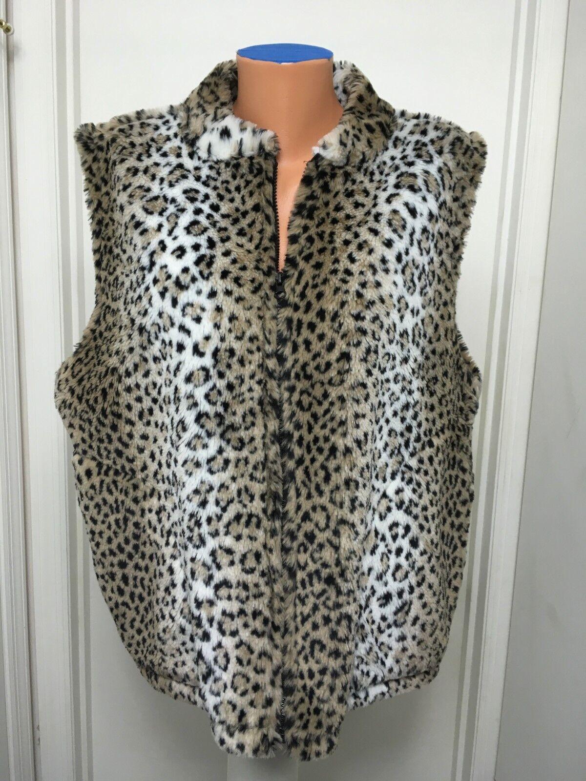 Cobblestone Canyon Womens  Animal Leopard  Print Faux Fur Vest Zip   L