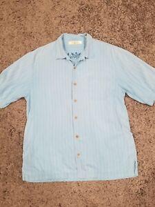 Tommy-Bahama-Mens-100-Silk-Hawaiian-Camp-Shirt-Blue-Size-Large-Button-Front