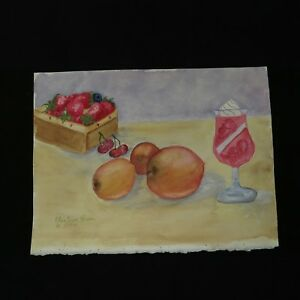Vintage-90-039-s-Watercolor-Painting-Unframed-Signed-Fruit-Still-Life-amp-daiquiri