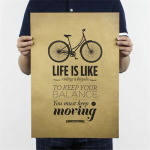 life-is-like-riding-a-bicycle-poster-cafe-bar-decor-kraft-paper-wall-sticker-JB