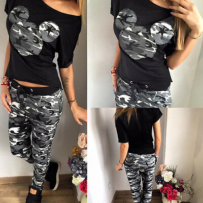 Womens Camouflage Mouse T-Shirt Tops + Pants Tracksuit Set Jogger Sportwear 6-14