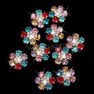10pcs Crystal Rhinestone Pearl Flower Button Flatback Embellishment DIY 24mm