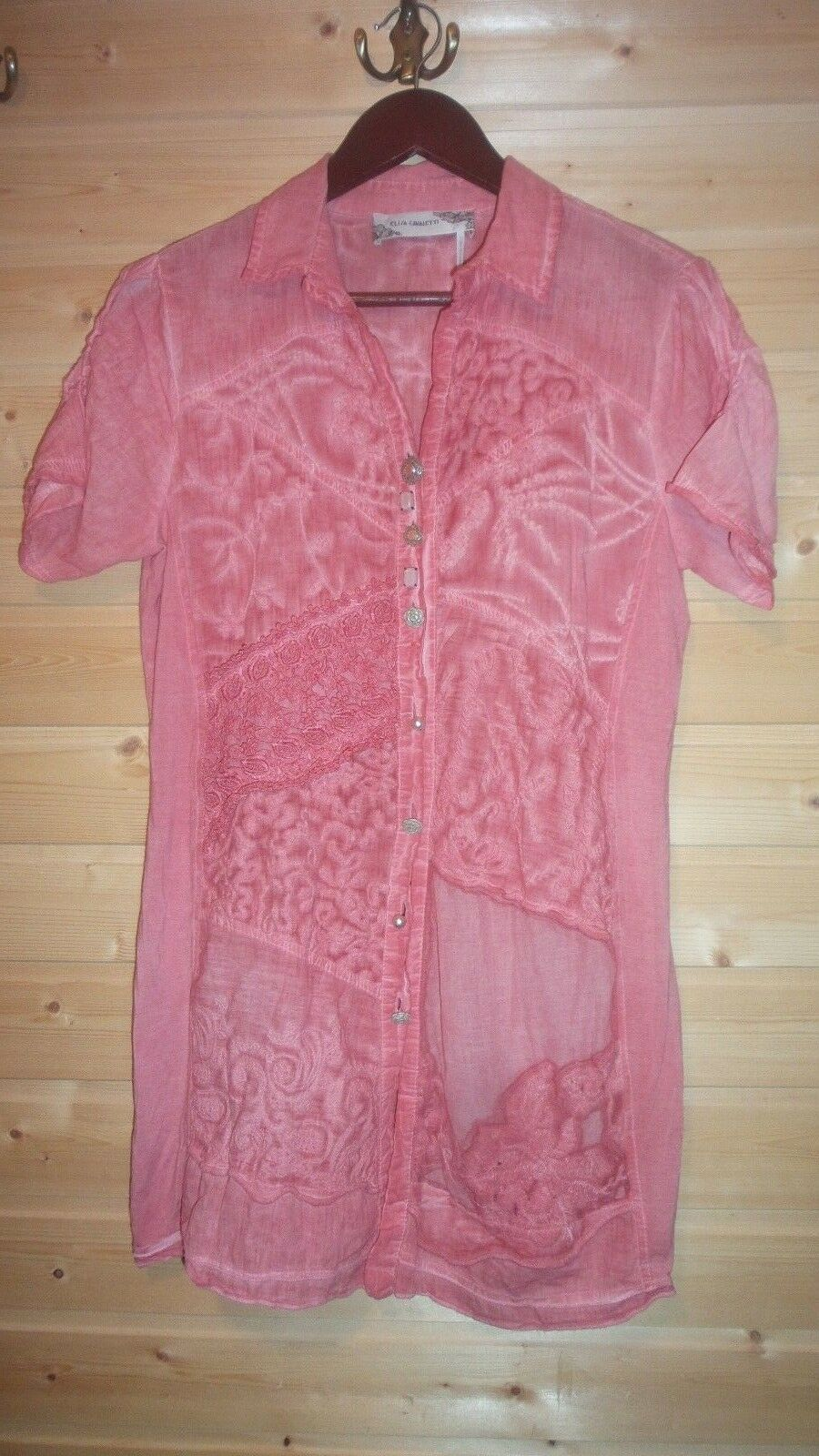 LADIES ELISA CAVALETTI BUTTON DOWN EMBROIDERED PINK SHIRT  SZ L COTTON ITALY