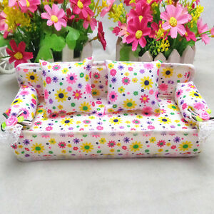 Hot-Miniature-Furniture-Flower-Print-Sofa-Couch-With-2-Doolhouse-DIY