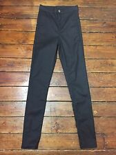Topshop Moto Skinny Jeans Coated Joni Black Sz 8 W26 fit L36 Tall Yc64 Defect