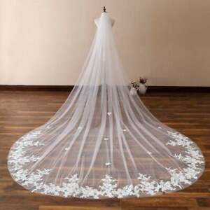 Wedding-Veils-for-Girls-Cathedral-Length-Long-1T-Appliques-With-Comb-Bridal-Lace