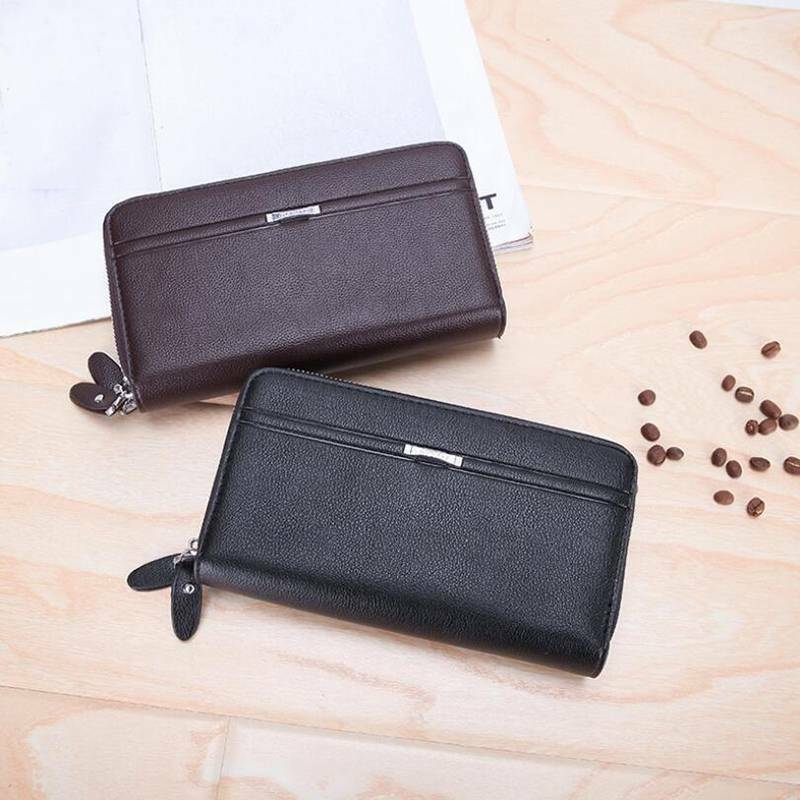 Men Double Layer Faux Leather Wristlet Purse Clutch Bag Phone Rack Purse FI